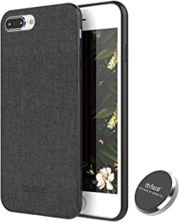 iPhone 8 Case, iPhone 7 Case PU Leather Fabric Pattern Phone Cover Magnet Absorbent Function Hard Back Case with in-Car Magnet Holder (DO NOT Support Wireless Charging) - 4.7 Inch, Black
