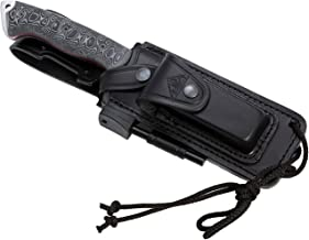 CELTIBERO BLACK - Premium Outdoor/Survival/Hunting Knife, Micarta Handle, Stainless Steel MOVA-58, Genuine Leather Multi-positioned Sheath, Sharpener Stone, Firesteel. Made in Spain