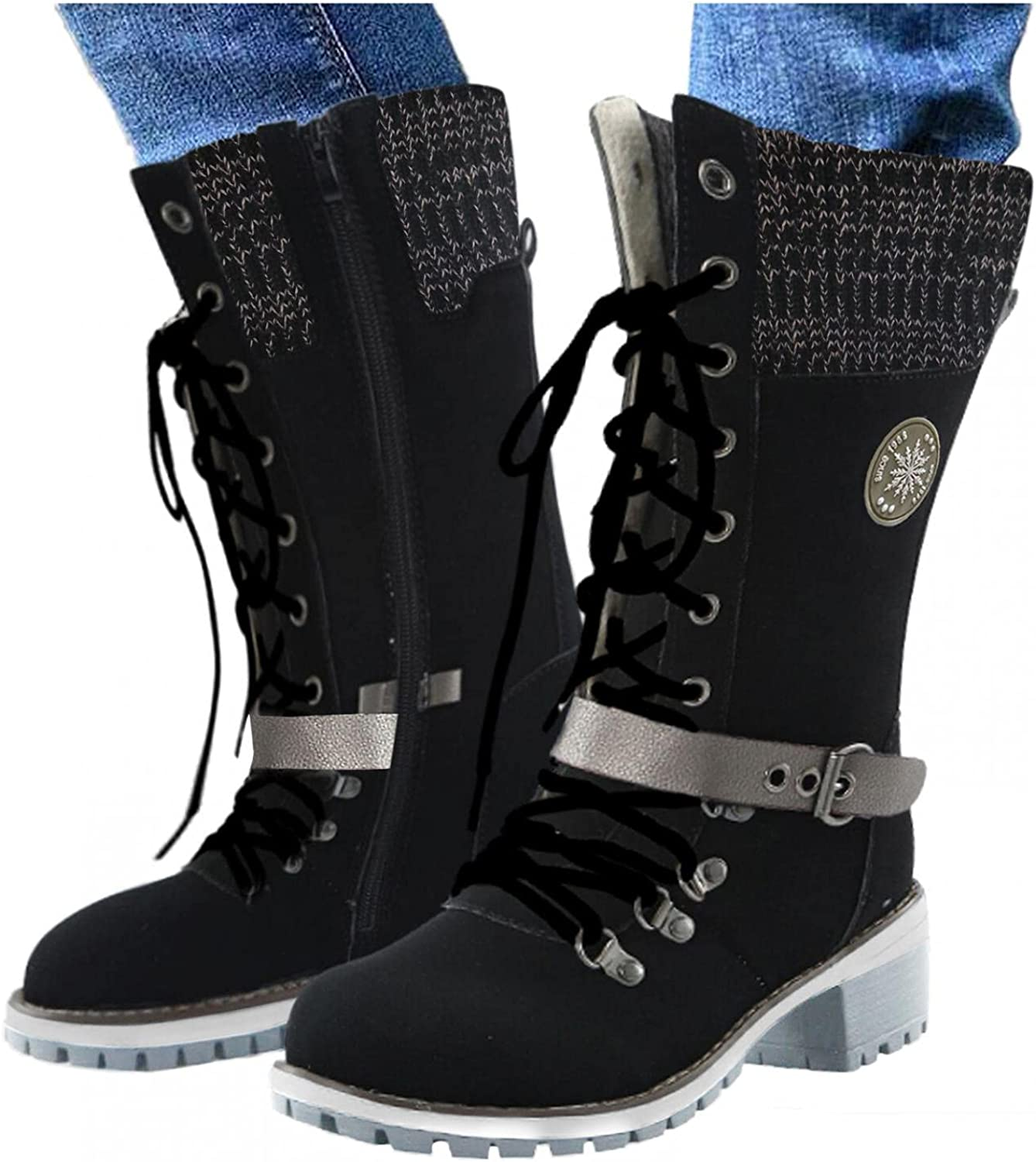 NLOMOCT Boots for Women,Round Toe Buckle Strap Mid Calf Boots Casual Winter Warm Snow Boots Platform Boots Ankle Booties