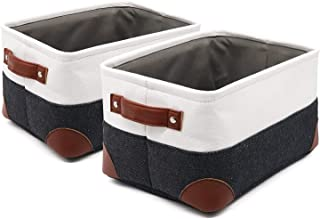 Storage Basket Foldable Cube Fabric Bins Receive Organizer 2 Pack Rectangular Canvas PU Leather Handles for Nursery Home Closet Office Organizing Shelf Pet Kids Toys Books Clothes Small 11x8x6.3 C2