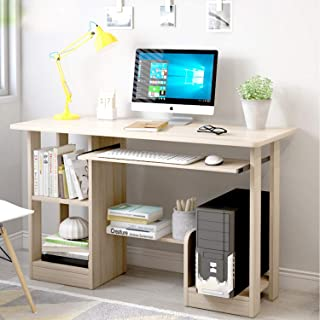 Computer Table Home Office Writing Desk Laptop Table for Office Notebook Desk with Storage Shelf, Keyboard Tray and Comput...