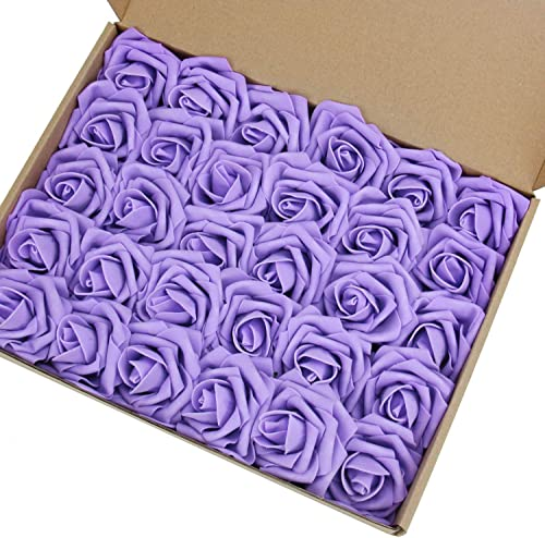 MACTING Artificial Flower Rose, 30pcs Real Touch Artificial Roses for DIY Bouquets Wedding Party Baby Shower Home Dec...