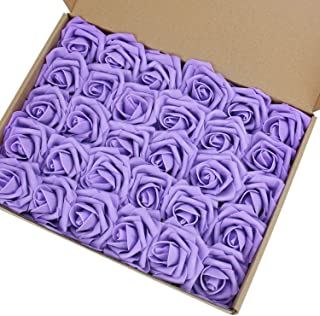 Marry Acting Artificial Flower Rose, 30pcs Real Touch Artificial Roses for DIY Bouquets Wedding Party Baby Shower Home Decor (Lavender)