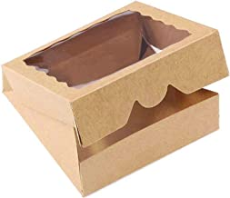 ONE MORE 9inch Brown Bakery Pie Boxes,Large Kraft Cookie Boxes with PVC Window Natural Disposable box 9x9x2.5inch,12 of Pack
