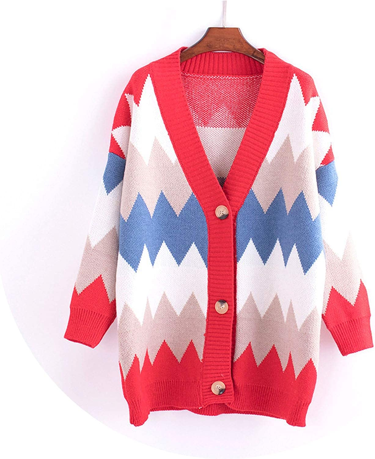 Pull Femme Winter Long Cardigan Women Casual Loose Waves Patchwork Sweater