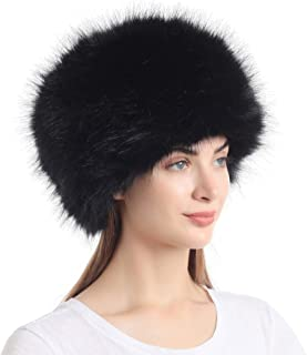 Women's Faux Fur Hat for Winter with Stretch Cossack Russion Style White Warm Cap