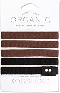 ORGANIC HAIR ELASTICS in BROWN AND BLACK   Biodegradable, Plastic-Free Hair Ties Made in a Fair Trade Certified Facility