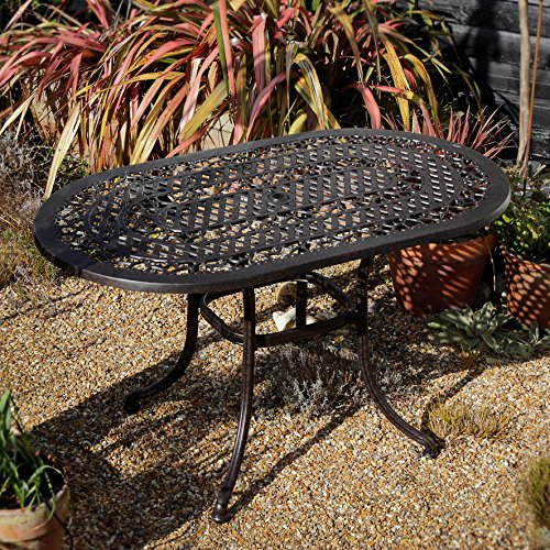 Lazy Susan Aluminium Gartensitzgruppe Elise 136 x 81cm Ovales Gartenmöbel Set - 1 ELISE Tisch + 4 APRIL Stühle