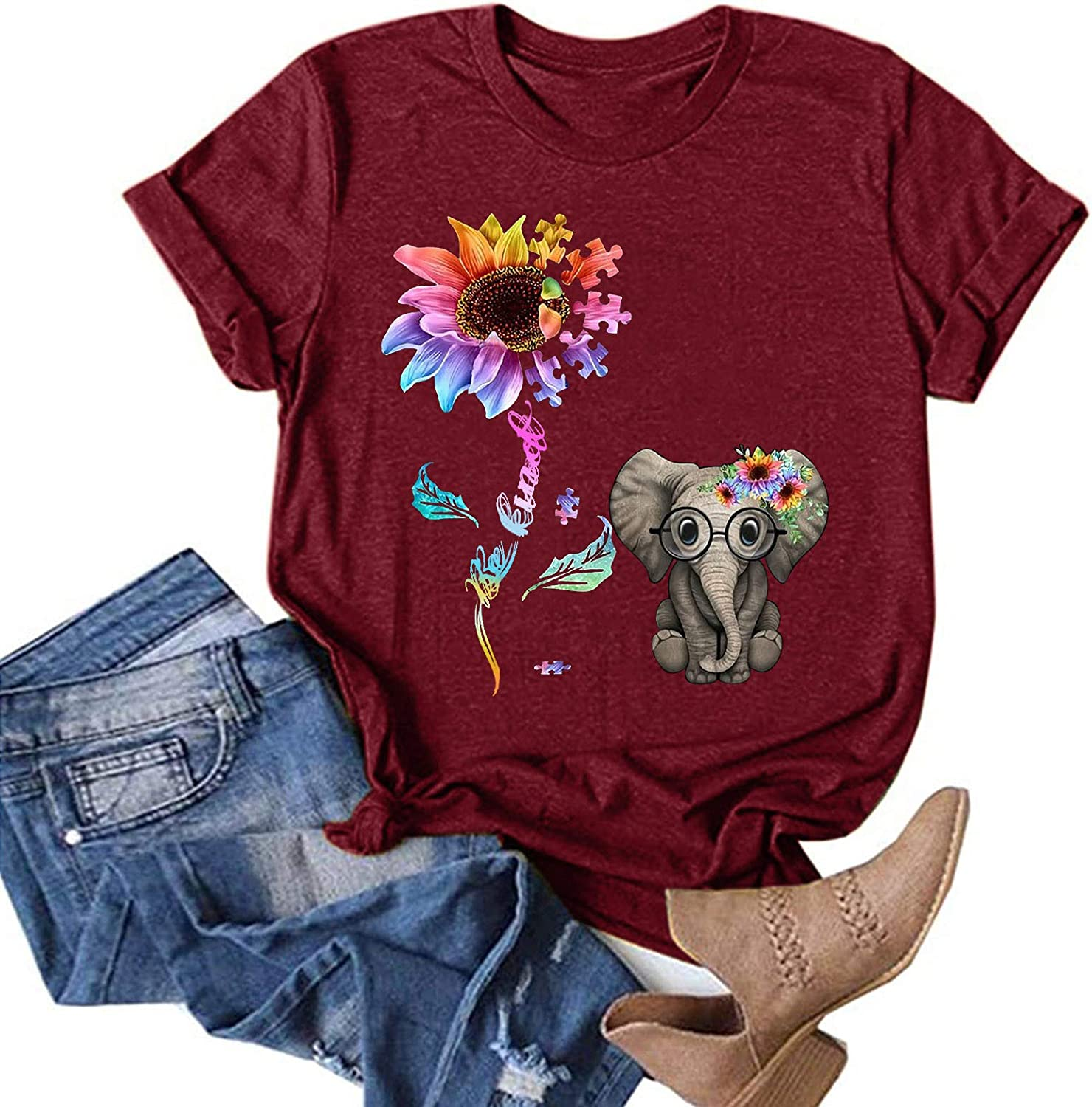 AODONG Womens Short Sleeve Tops, Womens Summer Casual T-Shirts Floral Printed O-Neck Blouse Tops Funny Graphic T-Shirts