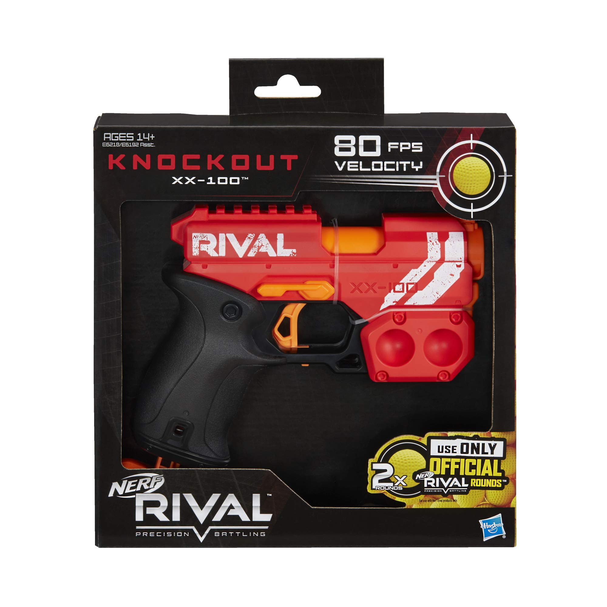 Nerf Plastic Rival Knockout XX-100 Blaster Round Storage, 85 FPS Velocity, Breech Load Includes 2 Official Rival Rounds Multicolor