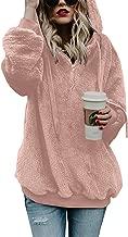 Douremifa Womens Fleece Hooded Pullover Sweatshirt Casual Loose 1/4 Zip Jacket Coat with Pockets