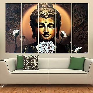 Kyara arts Big Size Multiple Frames, Beautiful Black Buddha Wall Painting for Living Room, Bedroom, Office, Hotels, Drawin...