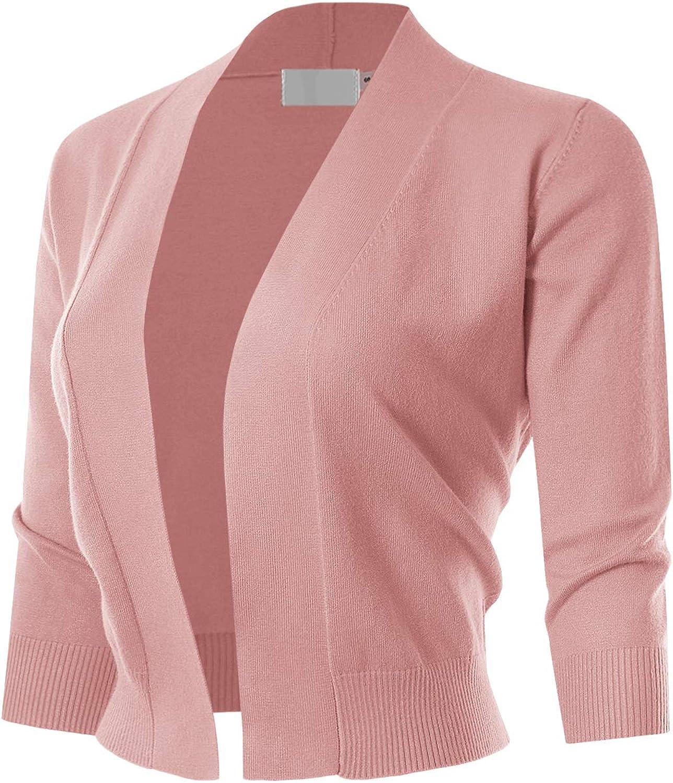 MAYSIX APPAREL 3/4 Sleeve Solid Open Bolero Cropped Cardigan for Women (S-3XL)