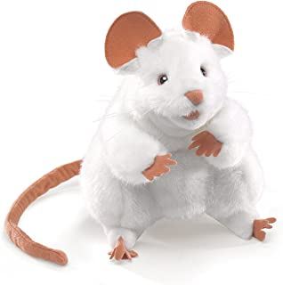 folkmanis white mouse hand puppet