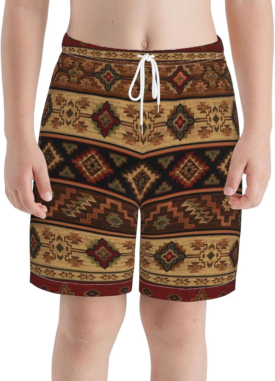 KAETZRU Boys Swim Trunks Beach Board Shorts Vintage Tribal Red Brown Rustic Southwestern Teens Quick Dry Swimsuit