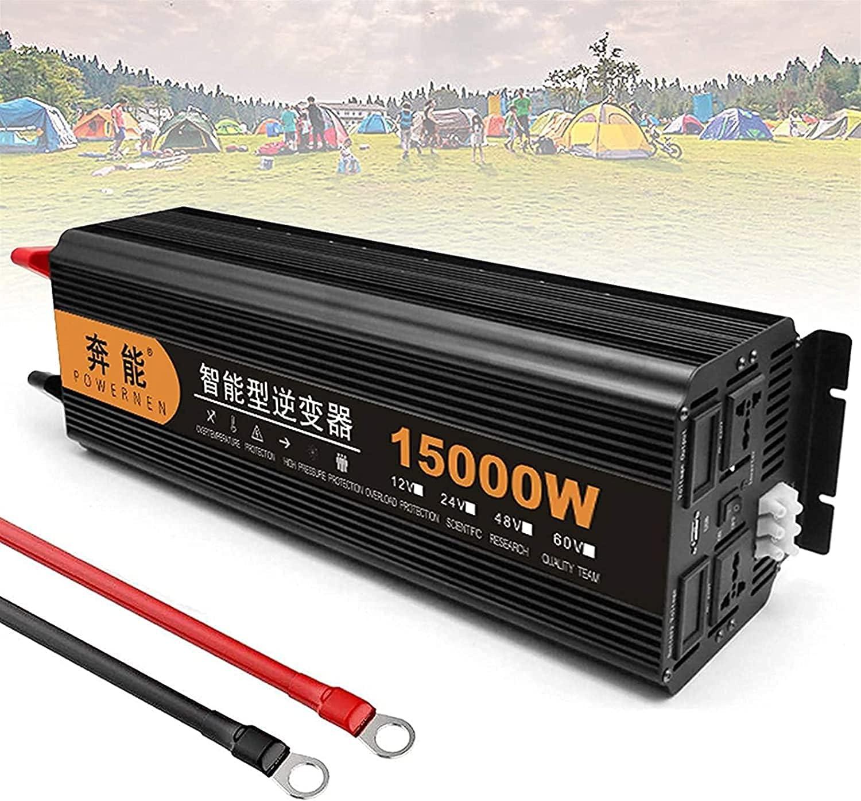 Wxnnx Inversor de energía de Onda sinusoidal Pura 3000/4000/5000/6000/8000/10000 / 15000W Convertidor DC 12V / 24V a 220V AC Outlets Inversor de Coche con Puerto USB
