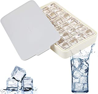 FAVIA Silicone Ice Cube Tray with Lid Flexible Easy Release 24-Ice Cube BPA Free Dishwasher Safe (Grey)