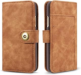 For iPhone XS Max Retro Magnetic Detachable Horizontal Flip Leather Case with Card Slots & Wallet & Photo Frame New (Black) Lyaoo (Color : Brown)