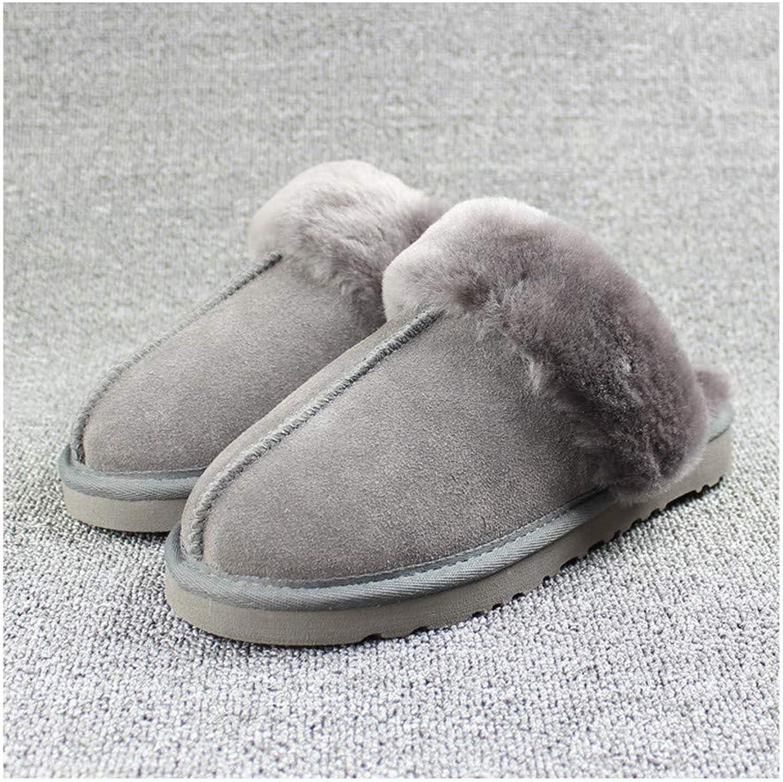 GAOHUI Men High-End Handmade Cotton Slippers Indoor Thermal Skid Slippers Dark Grey