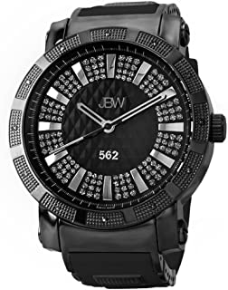 JBW Luxury Men's 562 12 Diamonds Pave Dial Rubber Bracelet Watch