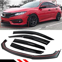 Fits for 2016-2018 Honda Civic 4 Door Sedan Front Bumper Lip Splitter + Side Window Visor Rain Guard Defelctor