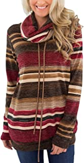 Sexyshine Women's Casual Loose Drawstring Striped Funnel Neck Long Sleeve Pullover Sweatshirt Hoodies Tee Tops Pockets