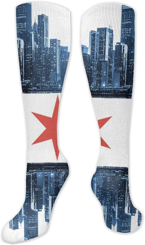 Chicago Skyline Flag Knee High Socks Leg Warmer Dresses Long Boot Stockings For Womens Cosplay Daily Wear