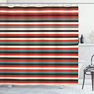 Ambesonne Striped Shower Curtain, Vintage Retro Pattern Geometric 60's Style Red Black Teal and Beige Colored Print, Cloth Fabric Bathroom Decor Set with Hooks, 75