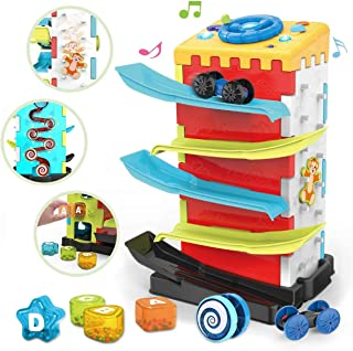 KaeKid Baby Toys for 18 Months Activity Cube Toy,5 in 1 Play Center with Car Ramp Truck, Music, Lights, Shape Sorter, Ratt...