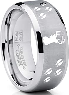 9MM Deer Track Tungsten Ring Wedding Band, Outdoor Jewelry, Men's Hunting Ring