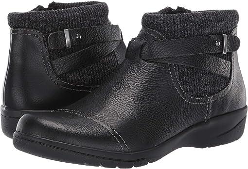 Black Tumbled Leather/Textile