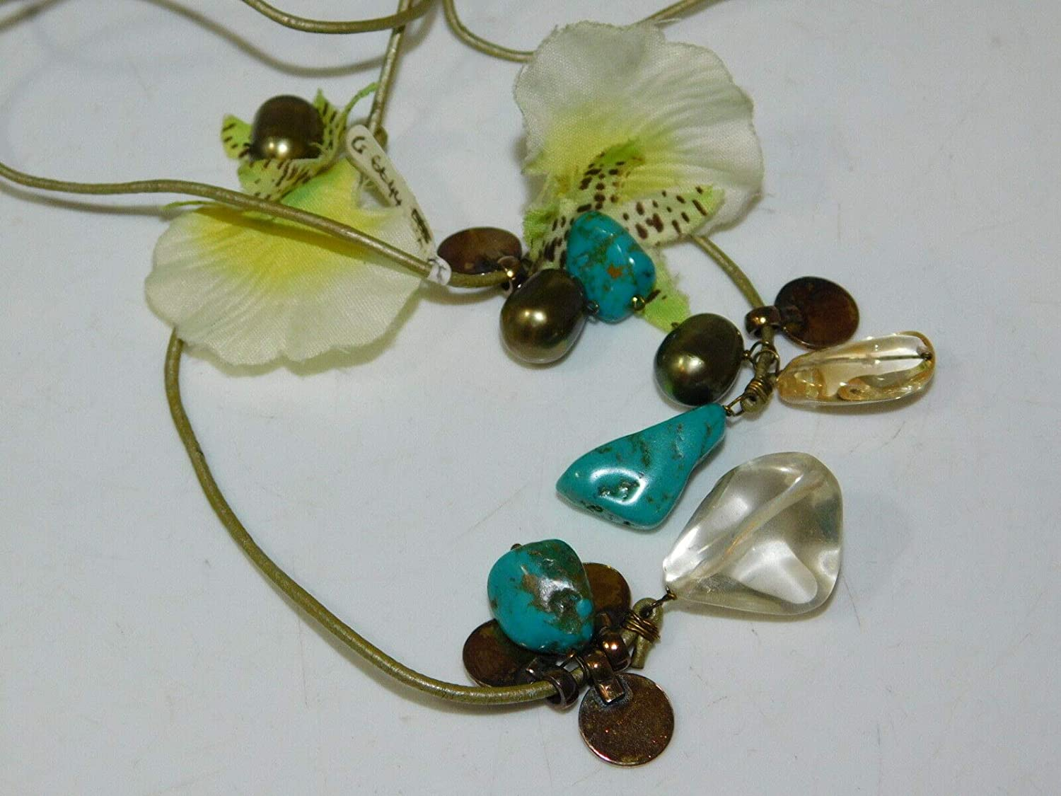 Green Pearl Quartz Turquoise Bead Silk Orchid Flower Lariat Cord Necklace 2i 29 ES-937