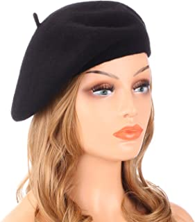Wool Beret Hat,Solid Color French Style Winter Warm Cap for Women Girls Lady
