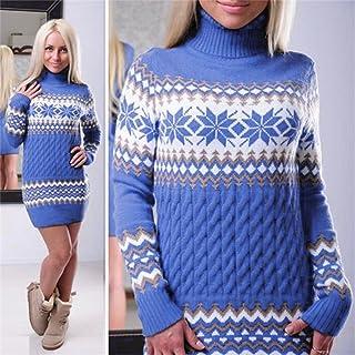 LnLyin - Jersey Largo de Punto para Mujer, Manga Larga, Vestido de Manga Larga, suéteres Casuales, suéteres cálidos, Suelt...