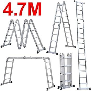 Popamazing 4,7 m de extensión peldaño de escalera multifunción de aluminio bandeja de andamio se puede plegar y guardar EN131 con barra: Amazon.es: Bricolaje y herramientas