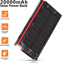 AMAES Solar Charger 20000mAh, Portable Power Bank External Battery Pack, Compatible with iPhone Samsung Tablets & More, Type-C and Micro USB Inputs, 2 Outputs, Flashlight, Carabiner, IP54 Rainproof