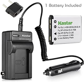 Kastar Battery 1 Pack and Charger for Fujifilm NP-45 NP-45A NP-45B NP-45S Battery BC-45 BC-45B Charger and Fuji XP10 XP11 XP15 XP20 XP21 XP22 XP30 XP31 XP50 XP60 XP70 XP75 XP80 XP90 XP120 XP130 Camera