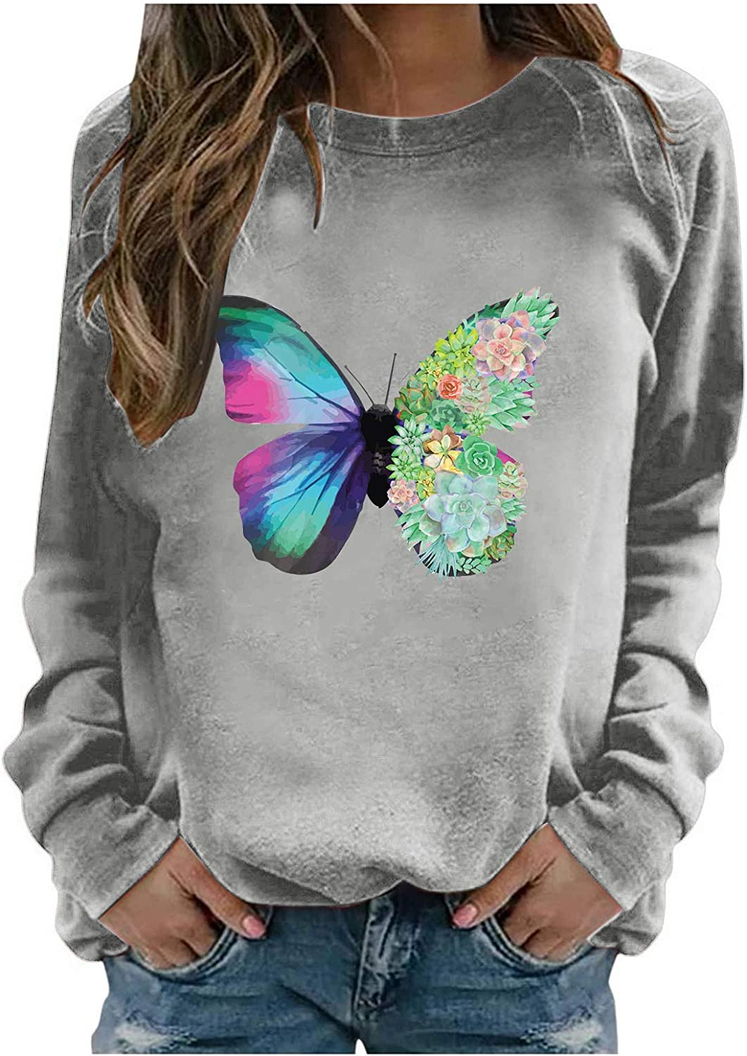 Crewneck Sweatshirts for Women Vintage Butterfly Print Fashion Casual Long Sleeve Pullover Sweatshirt Tops Blouse