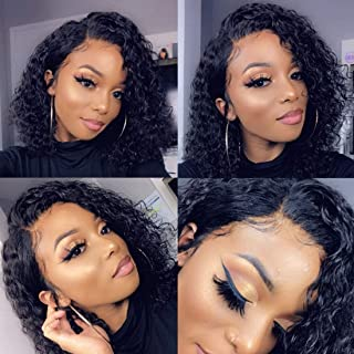 RUISENNA Short Curly Bob Human Hair Wigs 13×6 Lace Front Wigs Brazilian Virgin Black Bob Wigs with Baby Hair 8 Inch
