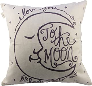 """HOSL Throw Pillow Cover Throw Pillow Case 18"""" x 18"""" (45 x 45cm) (I Love You to The Moon and Back)"""
