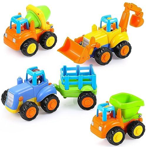 Mieutoy 4 PCS Coches de Juguete Mini Camiónes de Bebé para Niños 1-4 Años