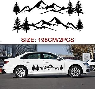 mewmewcat 2 peças adesivos do lado do carro preto decalques da montanha árvore floresta acessórios de decalques gráficos d...