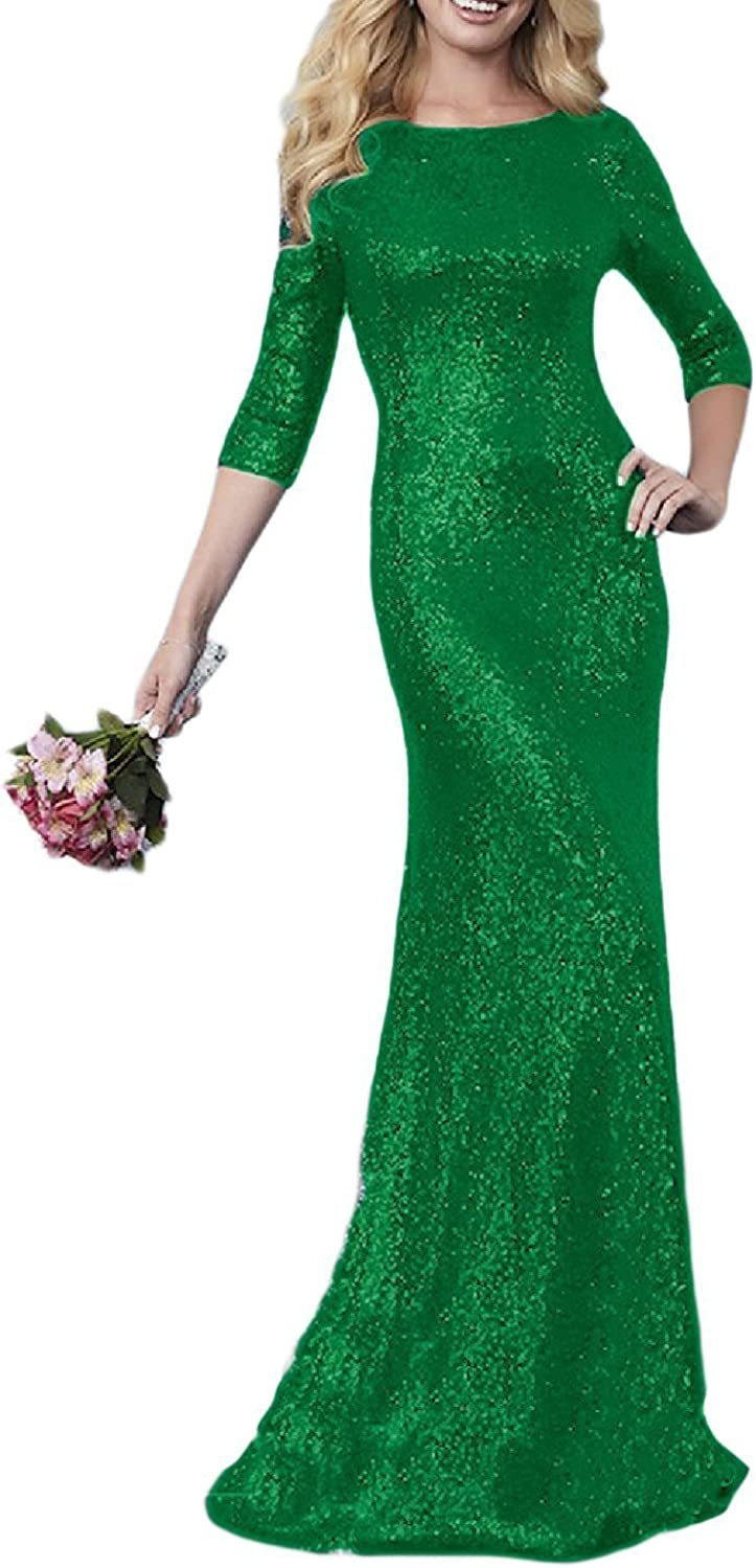 Weddder Sparkly Sequin Bridesmaid Dress Long Backless 3 4 Sleeves Formal Evening Dress