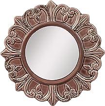 "Stonebriar Decorative 9"" Warm Taupe Round Ceramic Accent Wall Mirror"