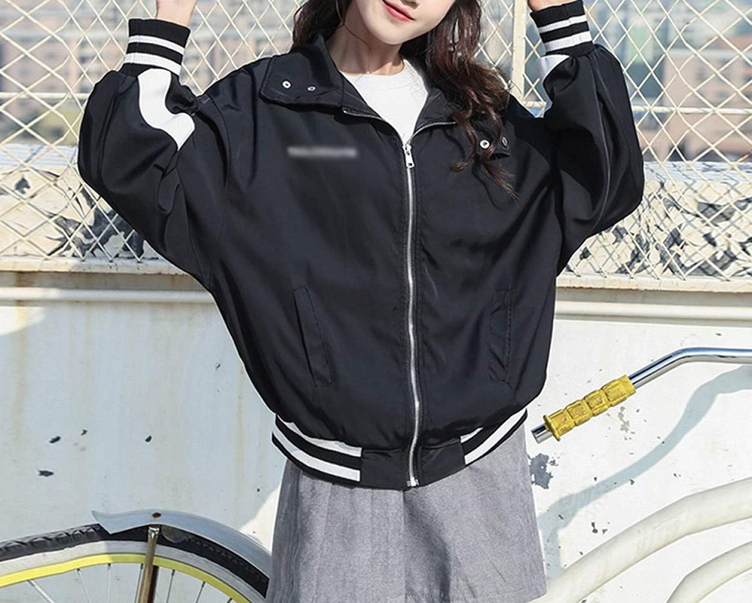 Spring and Autumn Jacket Women's Fashion Letter Jacket Baseball Wear Student Loose BF Top,Black,S DEED
