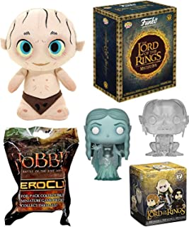 Funko B&N Exclusive Character Figure Lord of The Rings 3 Pop! Movies Galadriel Gollum Clear Bundle Fantasy with Smeagol Exclusive Plush & Hobbit Blind Bag + Mystery Minis Collectors Pack LOTR 3 Items