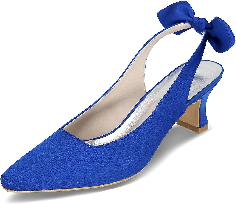 Elobaby Frauen Hochzeit Schuhe Kätzchen Bögen Satin Ballroom wies Closed Toe   5,5 cm Ferse Kleid  | Spielen Sie das Beste  | Billig ideal  | Lebendige Form