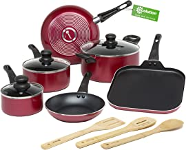 Ecolution Easy Clean Non-Stick Cookware, Dishwasher Safe Pots and Pans Set, 12 Piece, Red