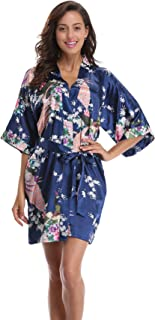 Women's Kimono Robe Pockets, Peacock Design, Short