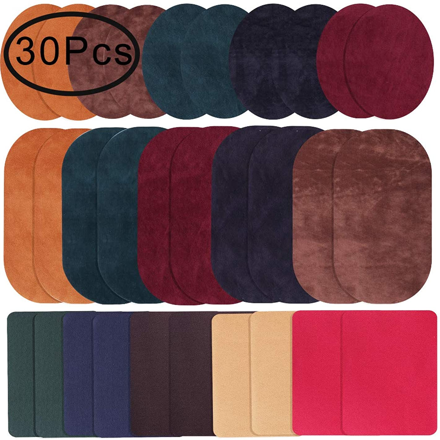 Iron On Patches, Outee 10 Colors 30 Pcs Fabric Patches 7/6/5 Inch Iron On Repair Kit for Clothing Jeans